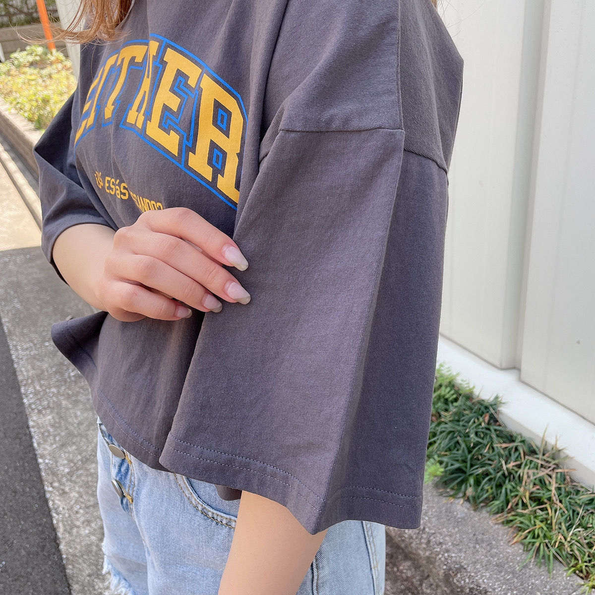 【3/29再入荷】短丈カレッジTシャツ
