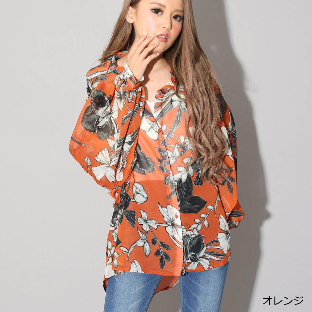 【ネコポス送料無料】リゾート柄BIGシャツ