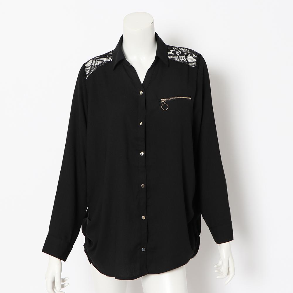 【ネコポス送料無料】バックレースジョーゼットシャツ
