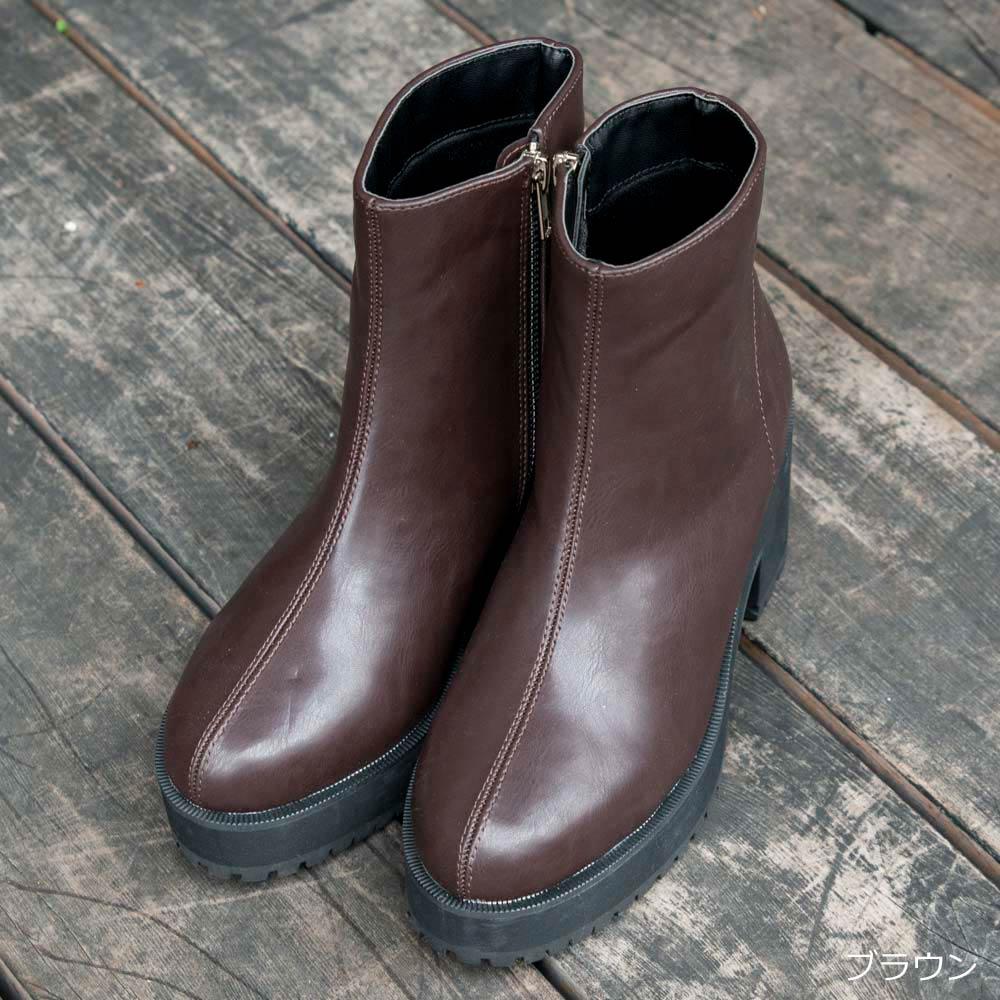 サイドZIP厚底ブーツ