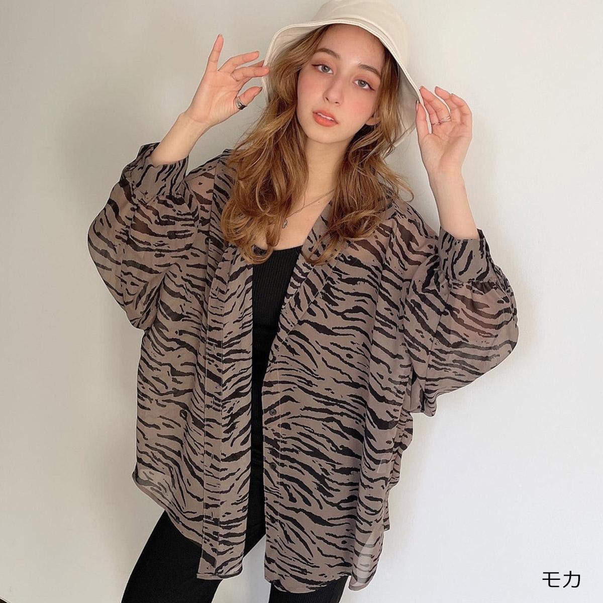 【3/1再入荷】【ネコポス送料無料】インナー付き柄シアーシャツ