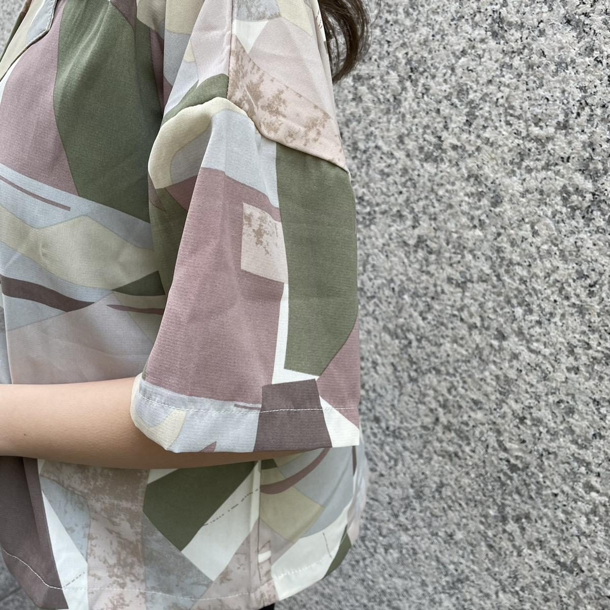 【ネコポス送料無料】短丈オープンカラーシャツ
