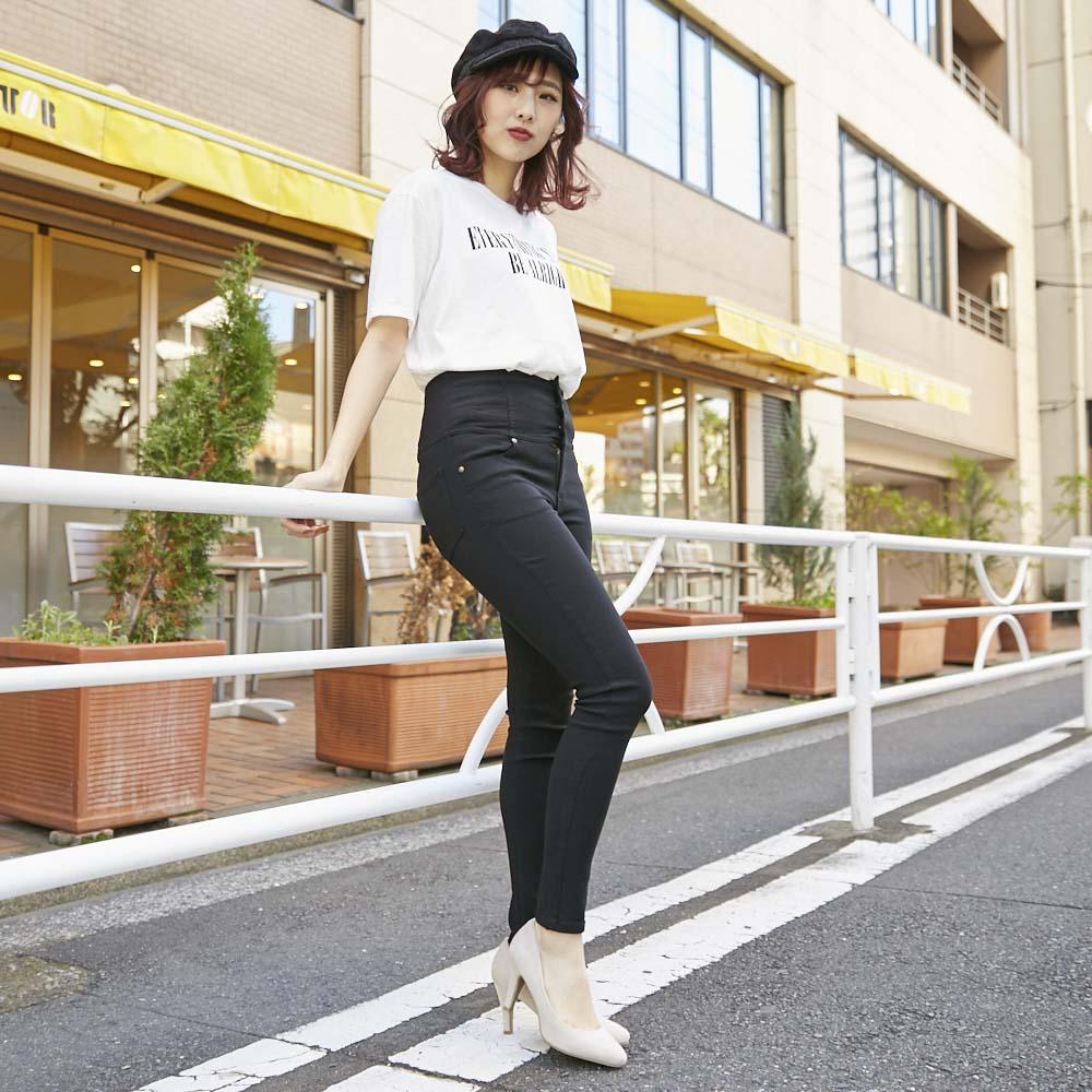 【1/18再入荷】3つボタンハイウエストスキニーパンツ