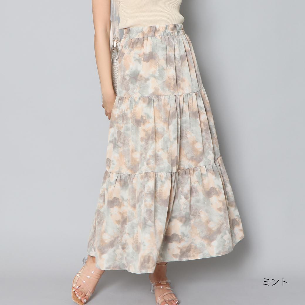 【8/19再入荷】ティアードマーブルスカート