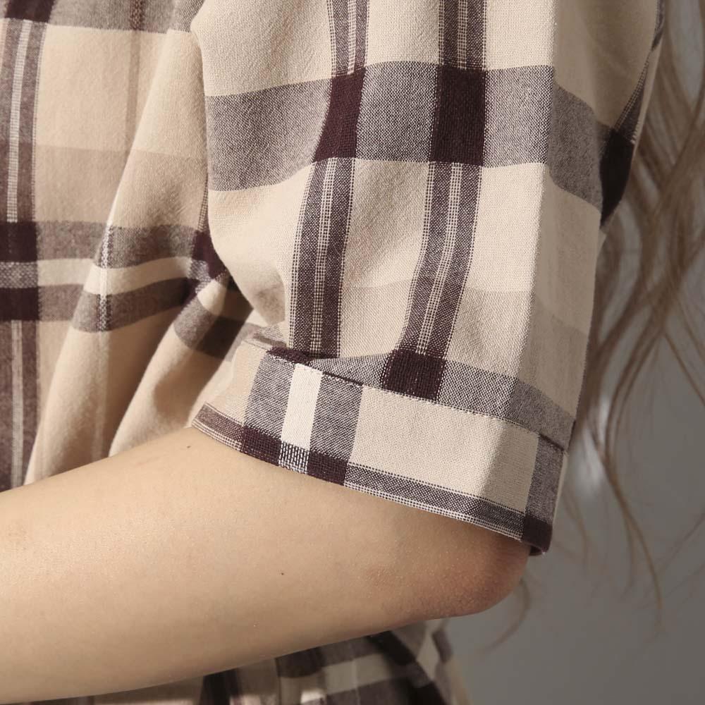 ベルト付きチェックシャツワンピース