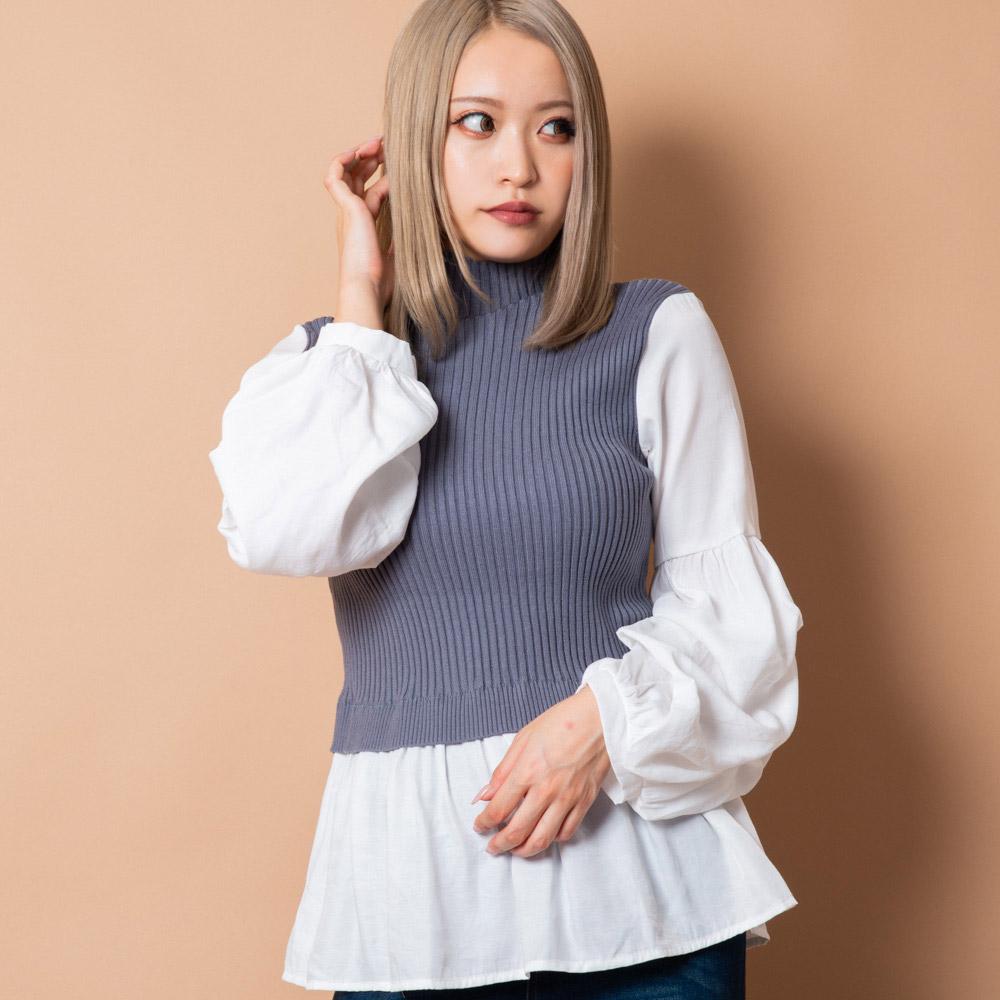 【12/16再入荷】ニットリブドッキングシャツ