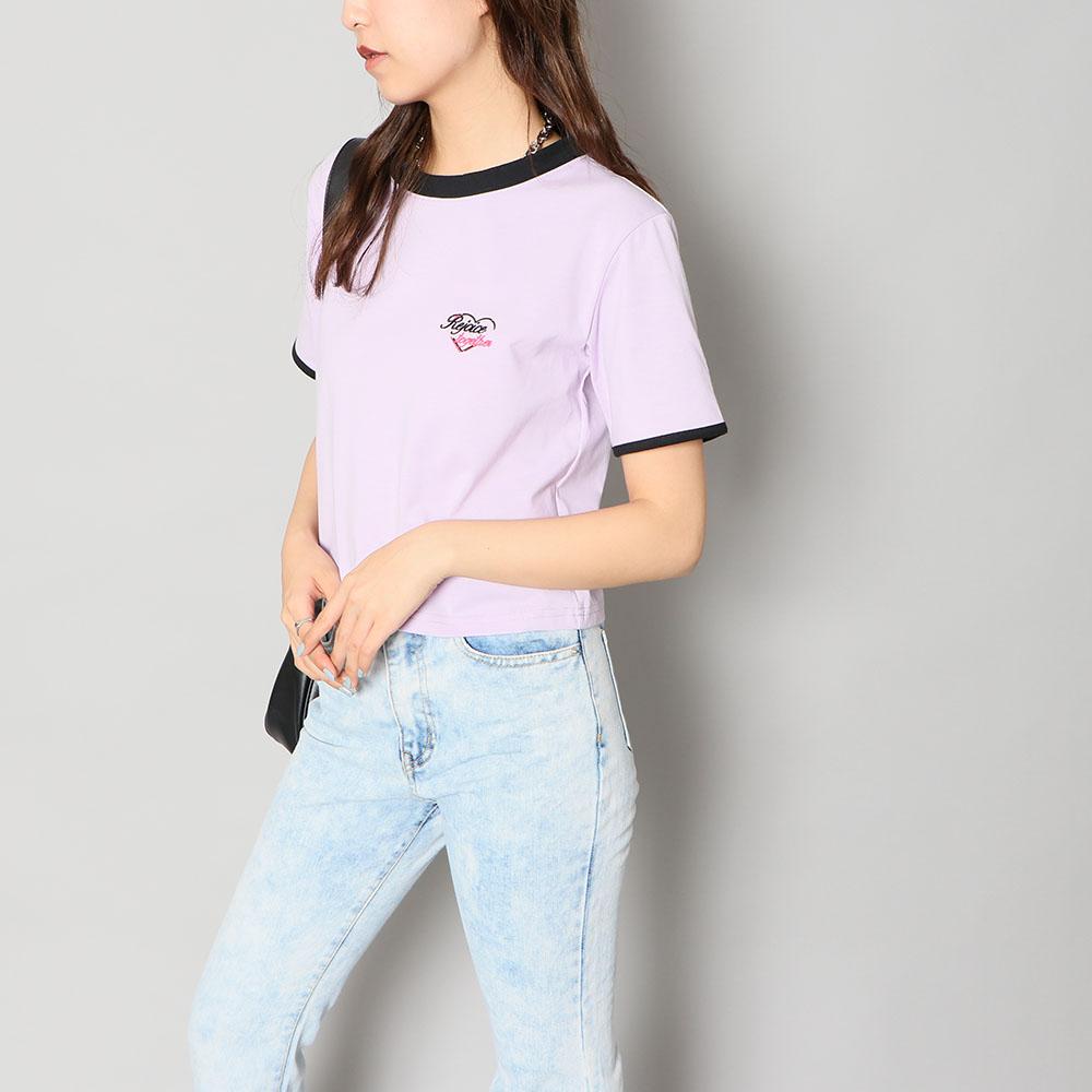 【ネコポス送料無料】配色短丈Tシャツ