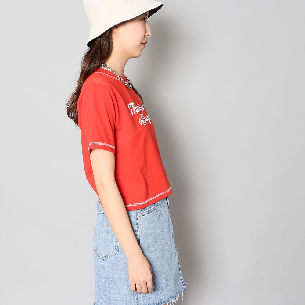 【ネコポス送料無料】ステッチ短丈Tシャツ