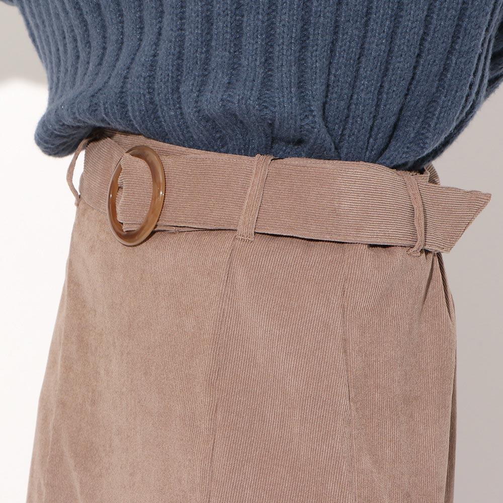 ベルト付きコーデュロイマーメイドスカート