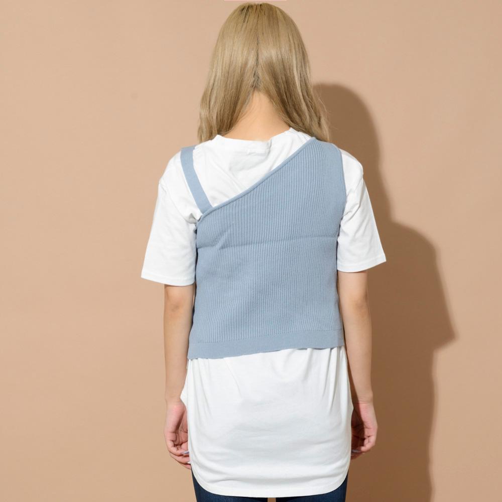 ワンショルニット5分袖Tシャツ