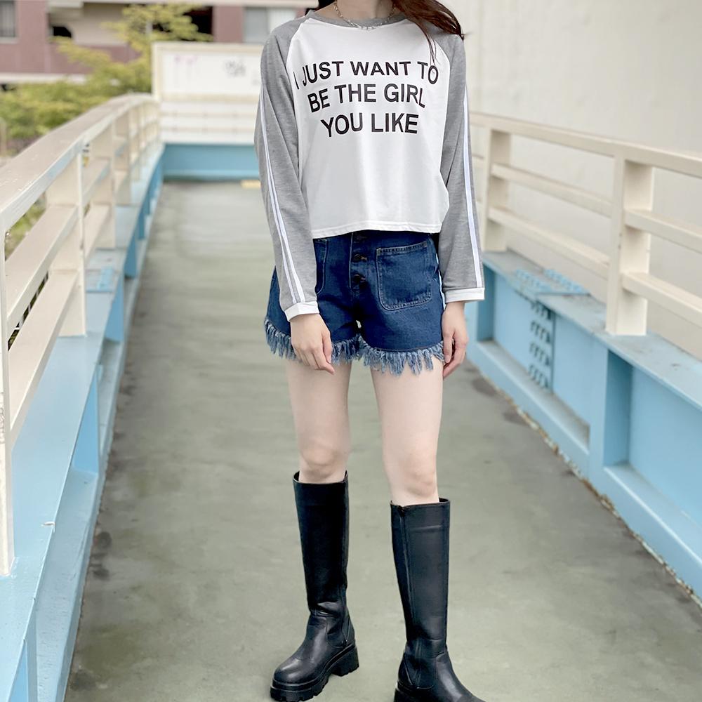 【ネコポス送料無料】ラインロゴ短丈ミニ裏毛プルオーバー