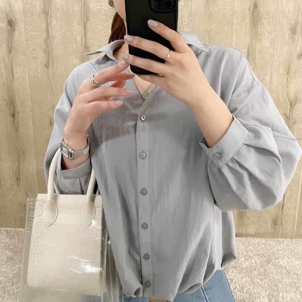 【3/18再入荷】レースアップボリュームシャツ