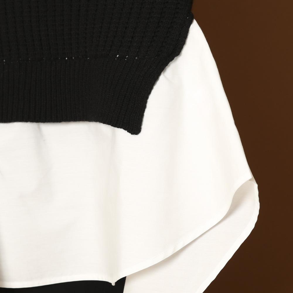 【2/18再入荷】ニットドッキングBIGシャツ