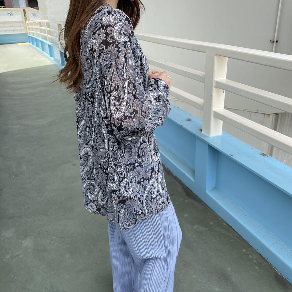【ネコポス送料無料】バンドカラーペイズリーシアーシャツ