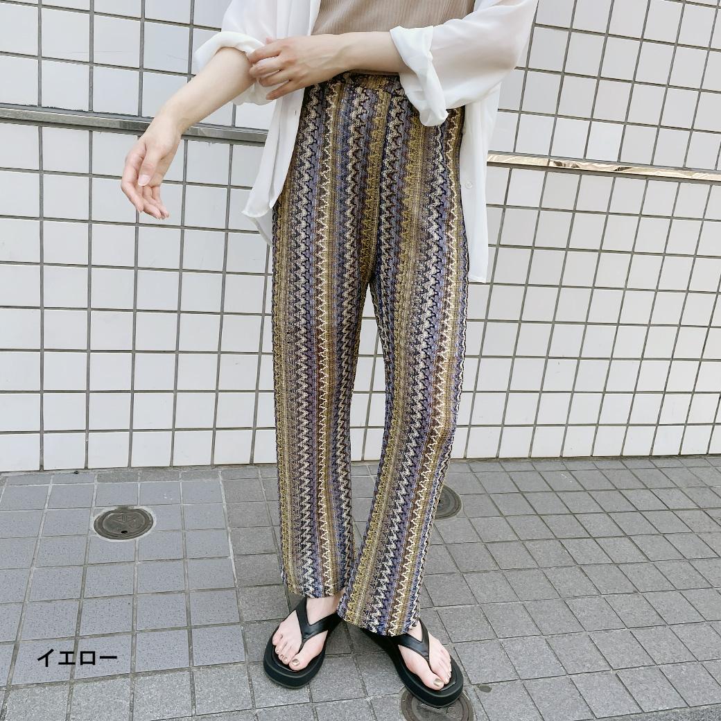 柄透かし編みパンツ