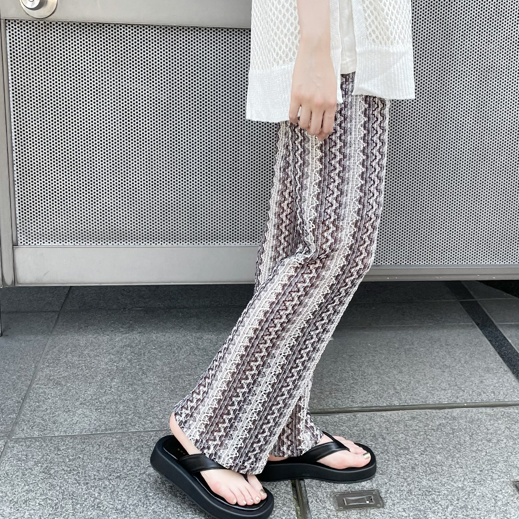 【7/29再入荷】柄透かし編みパンツ