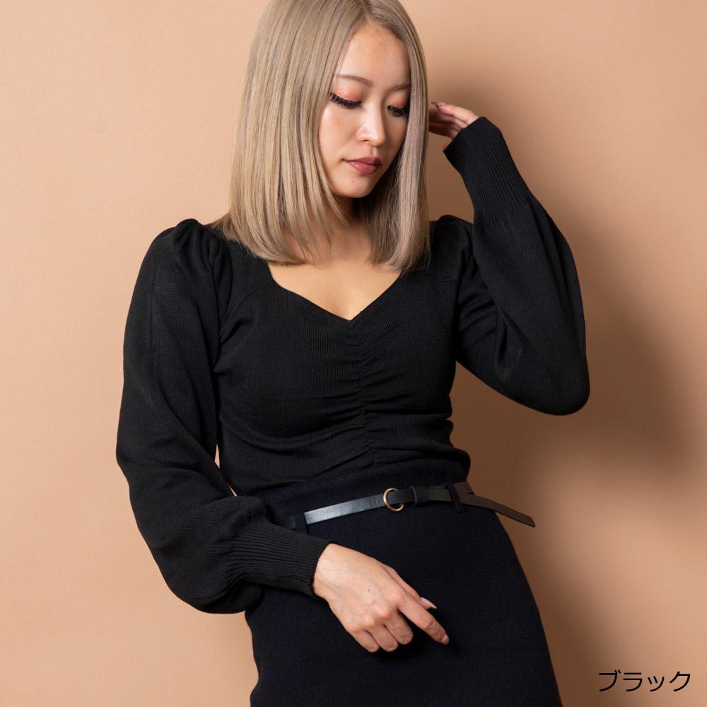 【12/2再入荷】ドロストパワショルニットトップス