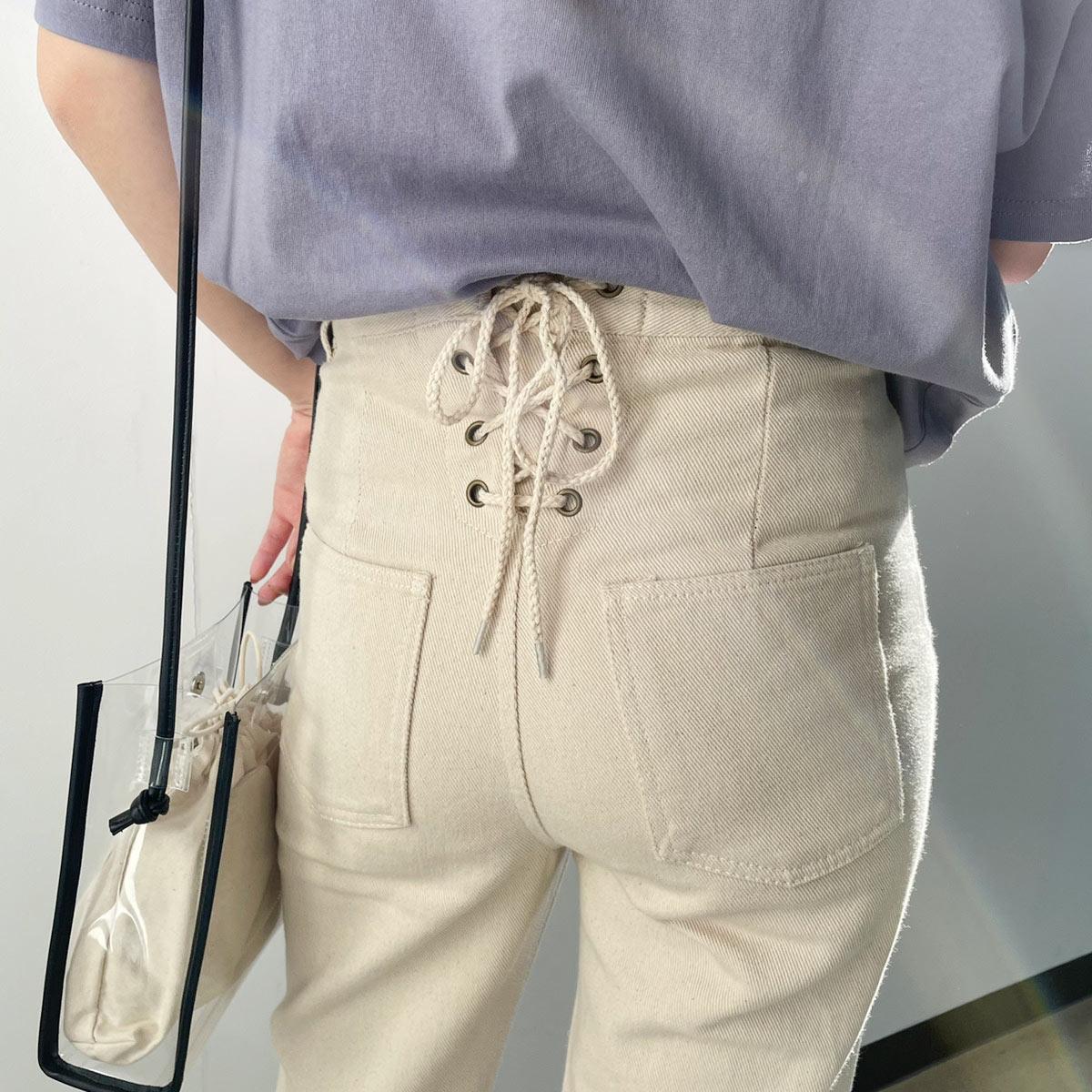 【5/14再入荷】バックレースアップデニムパンツ