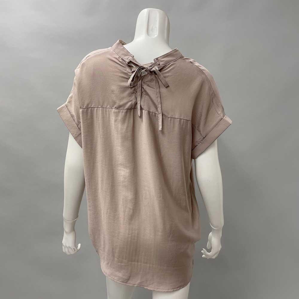 フレンチレースアップシャツ