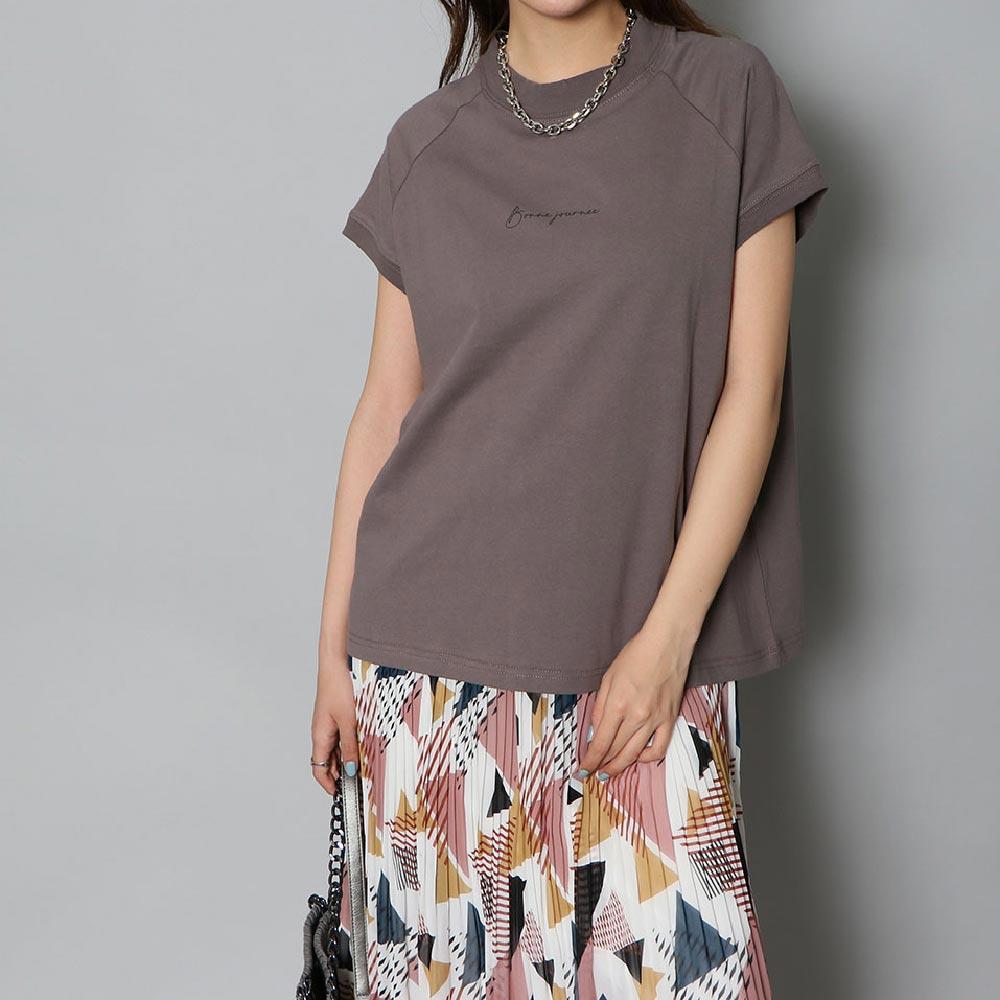 USAコットンモックネックロゴTシャツ