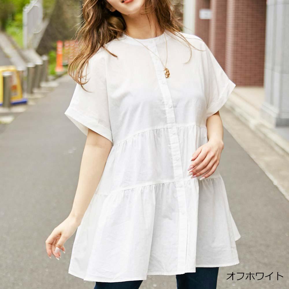 【6/11再入荷】バンドカラーティアードシャツ