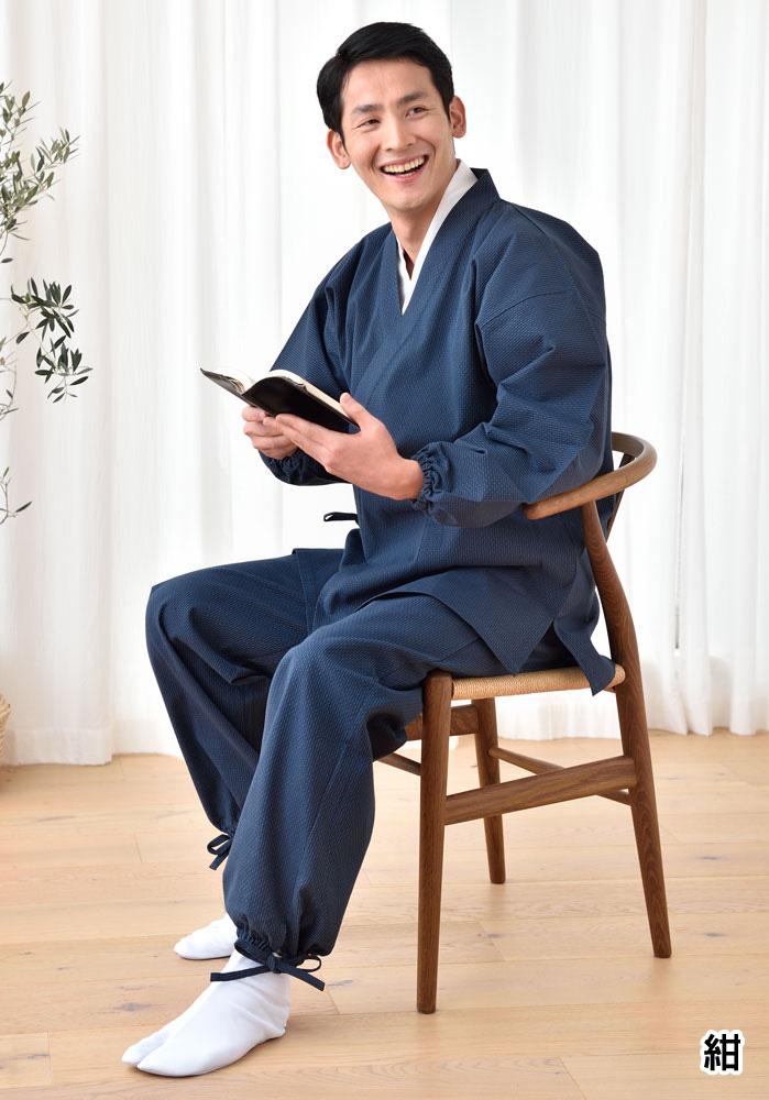 刺子作務衣 ゴム袖(黒・紺)(M-LL)