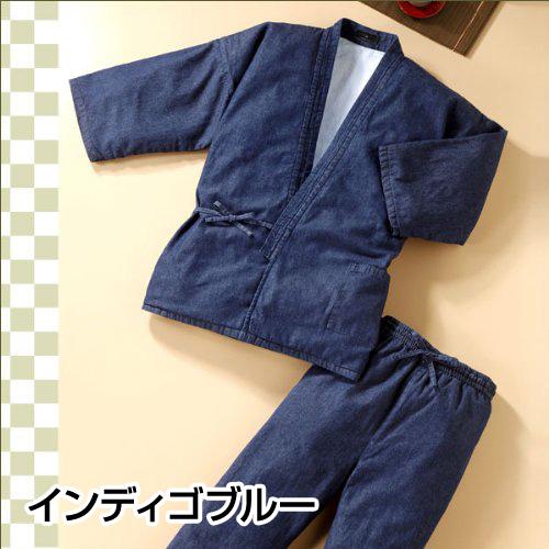 フェイクファーデニム作務衣(ソフトブルー・インディゴブルー)(S-3L)