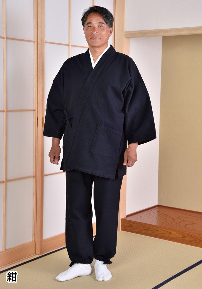 厚織刺子作務衣(紺・黒・白)(M-LL)