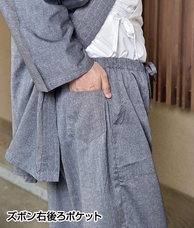 紳士小ザシコ柄作務衣(青・紺・鼠)(M-LL)