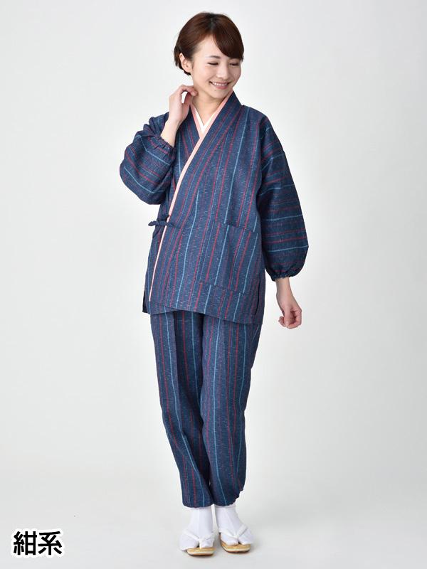 二重衿作務衣(赤系・紺系)(M-5L)