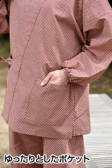 女性用総柄作務衣(麻の葉・市松(赤・紺)・唐辛子・小花(赤・紺))(F)