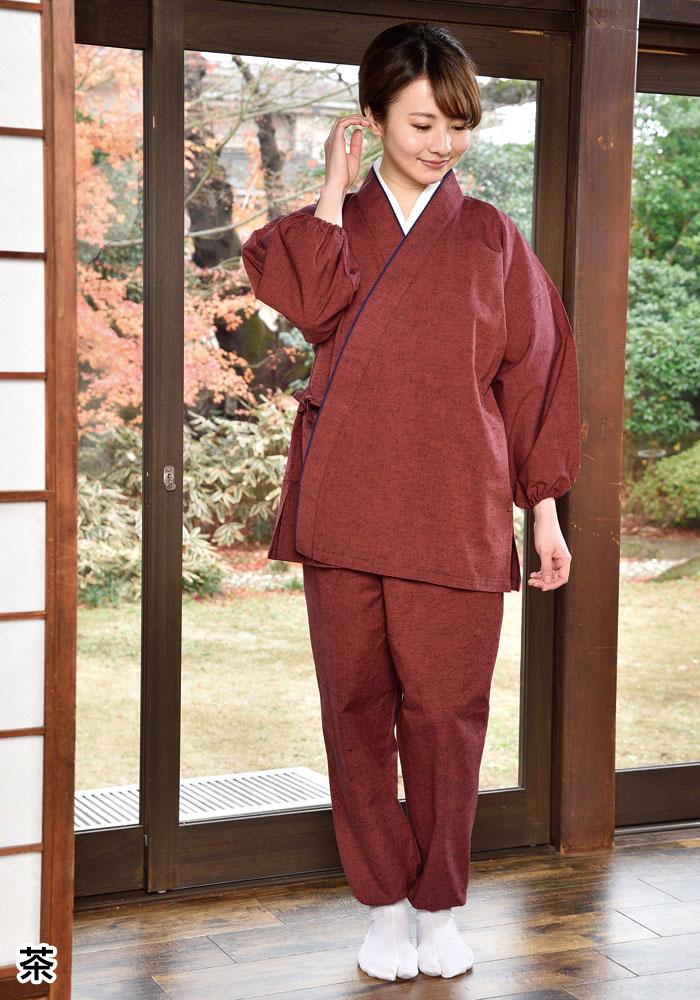 婦人紬作務衣(紺・からし・茶・ピンク)(M-L・LL)