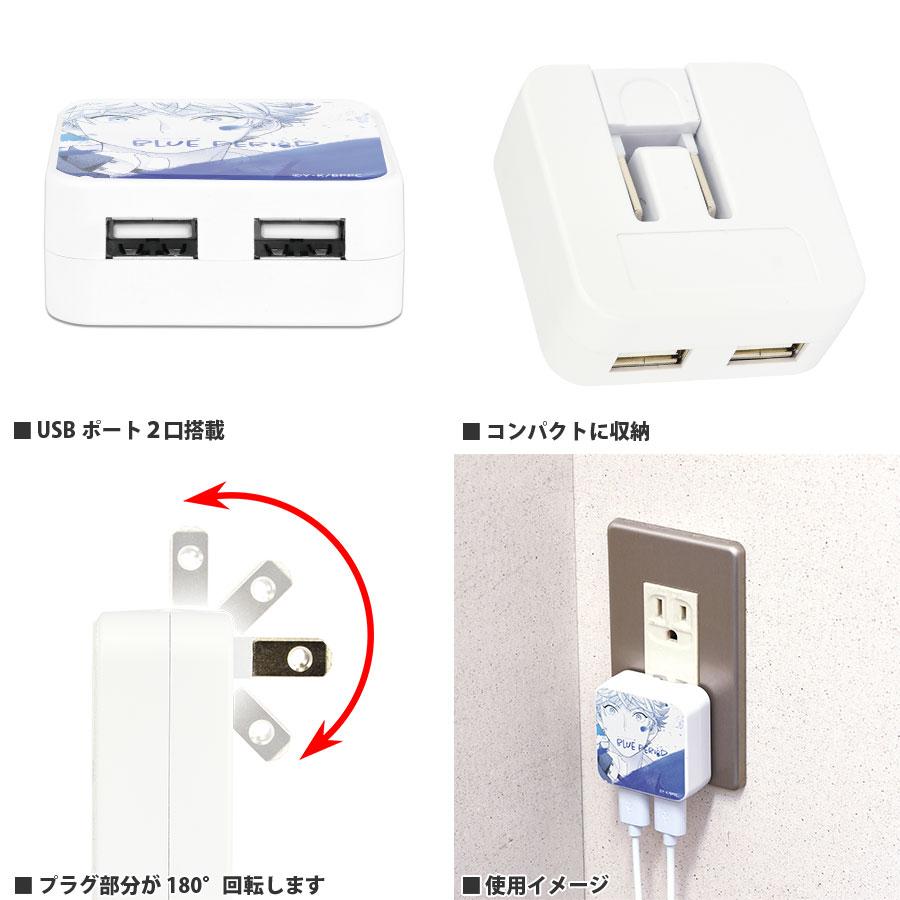 10月中旬発売予定 ブルーピリオド USB2ポート ACアダプタ