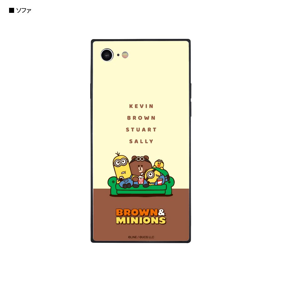 BROWN&MINIONS iPhoneSE(第2世代)/8/7対応 スクエアガラスケース