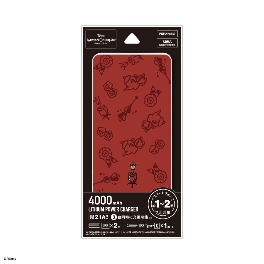 9月下旬発売予定 『ディズニー ツイステッドワンダーランド』  USB/USB Type-C 4000mAh リチウムイオンポリマー充電器 2.1A
