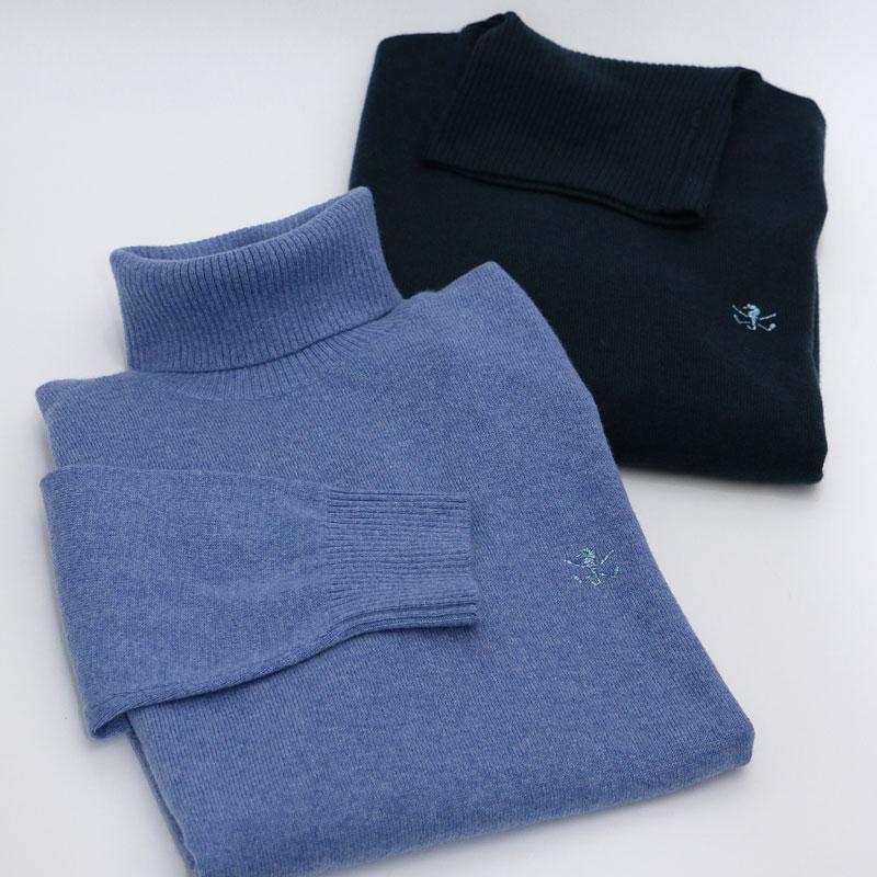 【ふんわり暖かい】ランズエンド ゴルフ刺繍入りカシミヤタートル