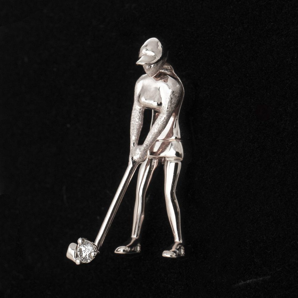 【胸元でスウィング】ゴルフ ピンブローチ「THE GOLF STARS」(プラチナ/K18)