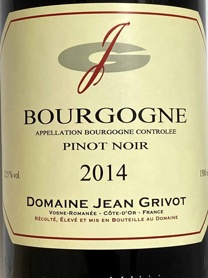 2014年 ジャン グリヴォ ブルゴーニュ ピノノワール 1,500ml フランス 赤ワイン