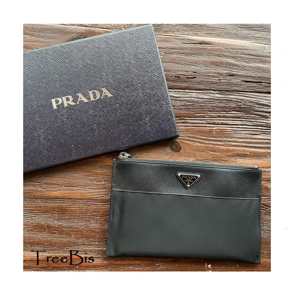 PRADA(プラダ) 2MB032_2DMH ReNylonxサフィアーノレザーポーチウォレット
