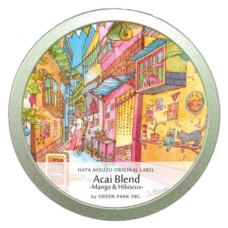アサイーブレンド  -マンゴー&ハイビスカス-缶 /  GREEN PARK Inc. × はた みすず