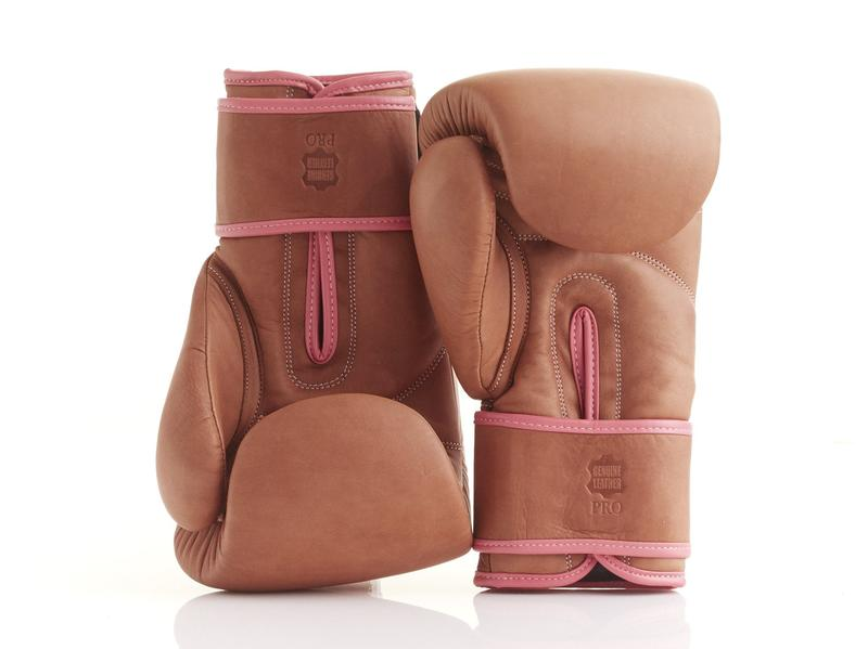 MODEST VINTAGE PLAYER(MVP )PRO LADIES DELUXE TAN LEATHER BOXING GLOVES (STRAP UP)