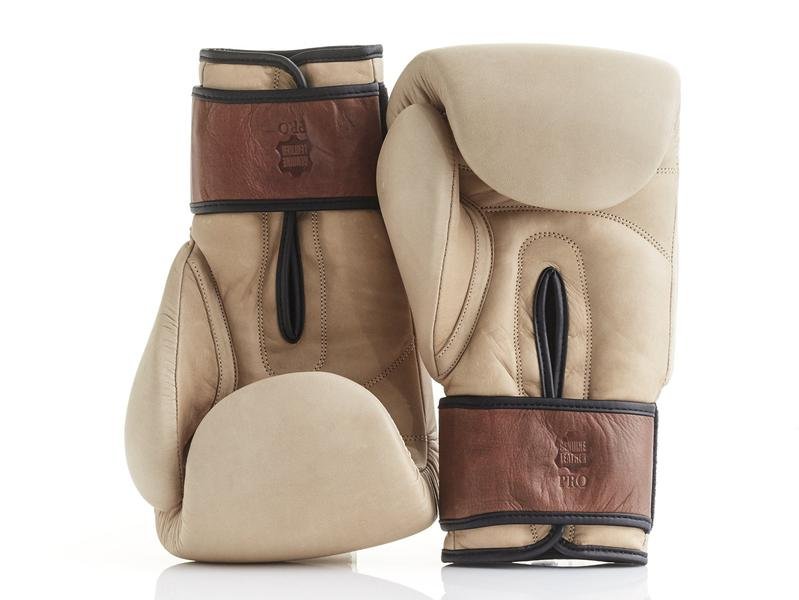 MODEST VINTAGE PLAYER(MVP )PRO CREAM / BROWN LEATHER BOXING GLOVES (STRAP UP)