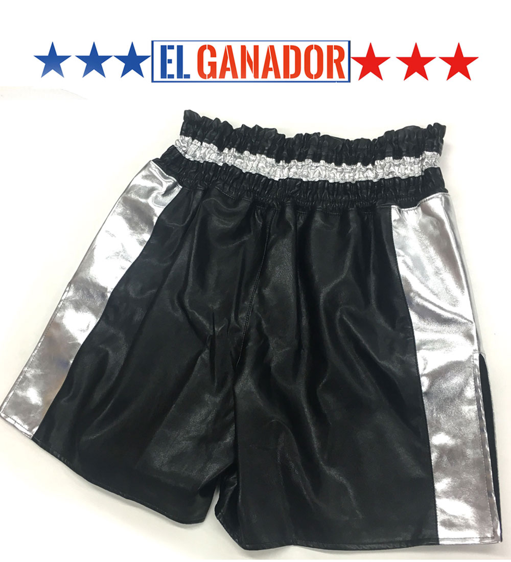 VICTOR EL GANADOR BOXING SHORTS BLACK SIDE SILVER