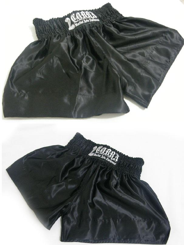 COBRA Muay Thai Shorts cl-0128 BLACK PLAIN