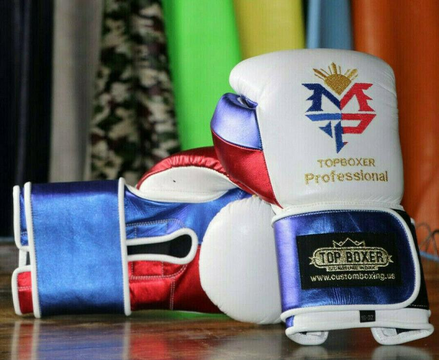 TOP BOXER BOXING GLOVES WIN1 PACQUIAO WHITE VELCRO