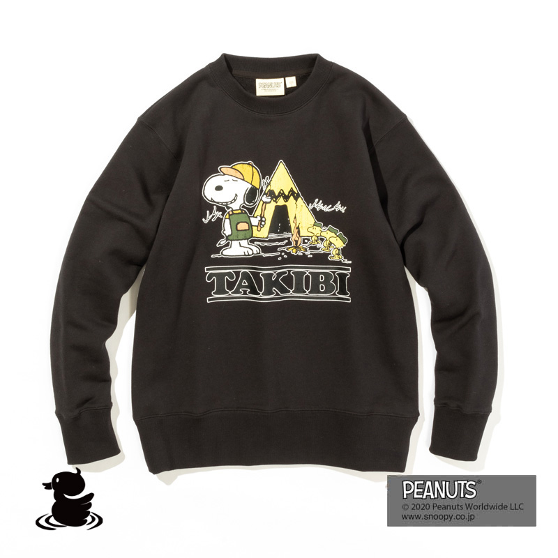 TAKIBI SNOOPY CREW SWEAT (SMOKE)