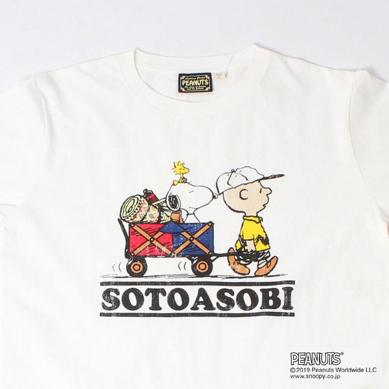 SOTOASOBI SNOOPY S/S KIDS TEE(WHITE)