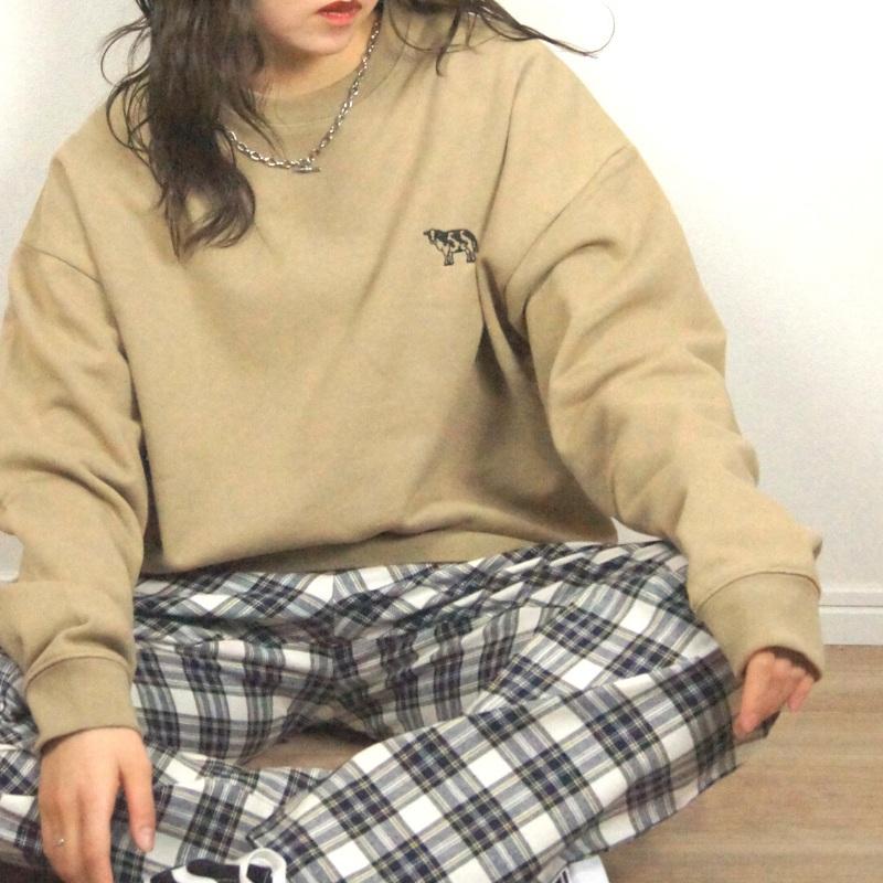【30%off】【SIDEWAYSTANCE】USコットン アブダクション 牛刺繍 裏毛 トレーナー
