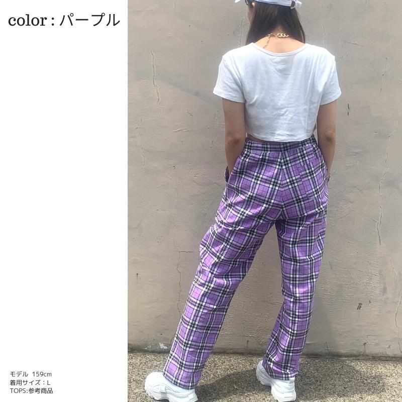 【20%off】チェック柄イージーパンツ