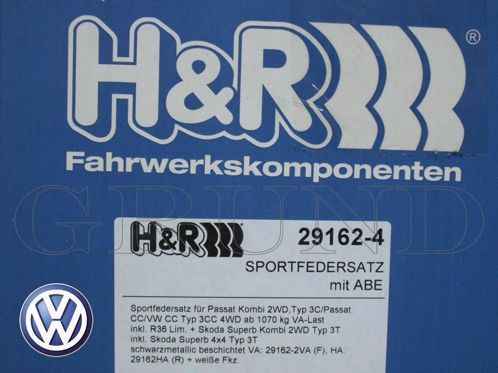 【H&R Sport Springs】スポーツスプリング|フォルクスワーゲン パサート CC V6 4MOTION【Volkswagen Passat CC 3C】【29162-4】
